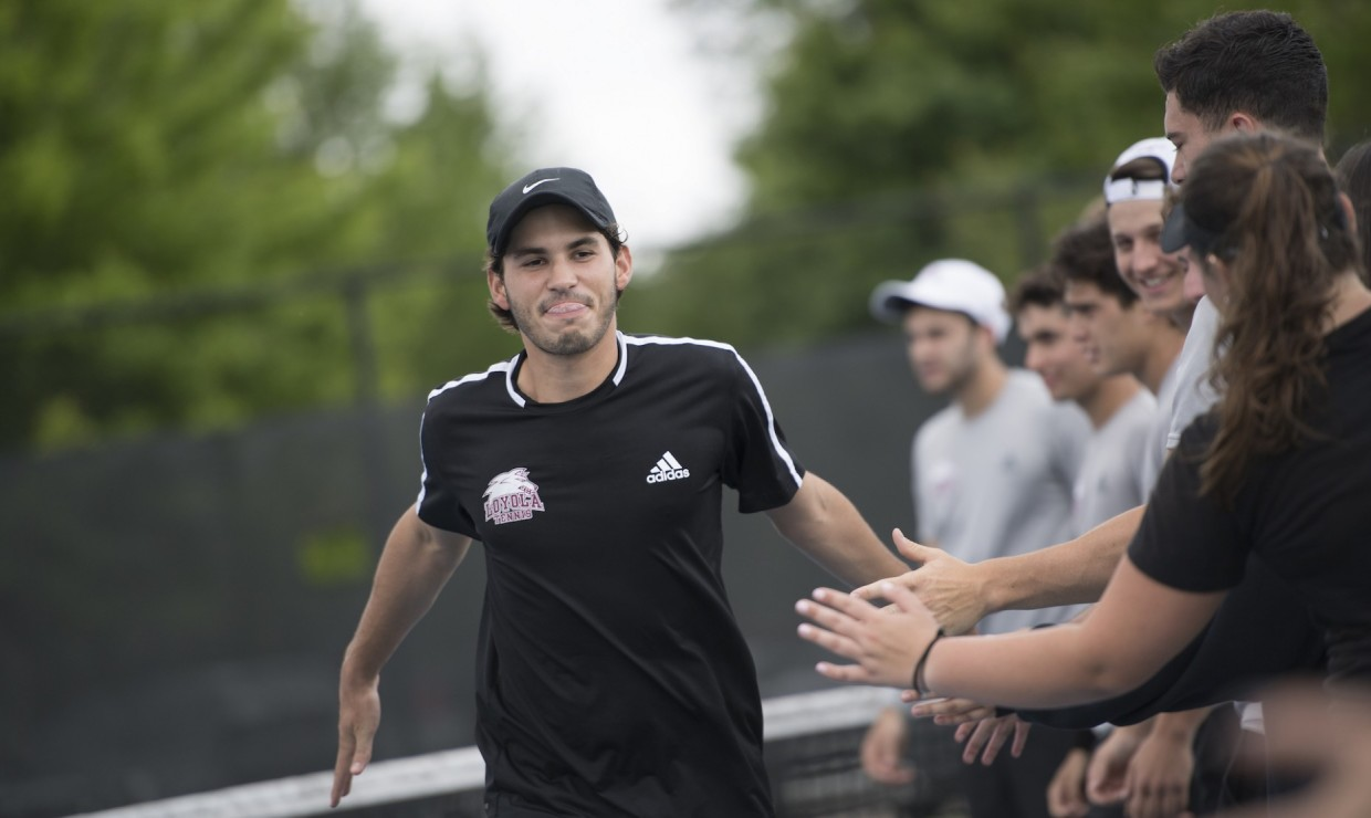 Business senior Ernesto de Diego earned his second consecutive All-Conference team selection. Both the men's and women's Loyola tennis teams lost in the semifinal round at the Southern States Athletic Conference Championship on April 20, 2018. Photo credit: Loyola University Athletics
