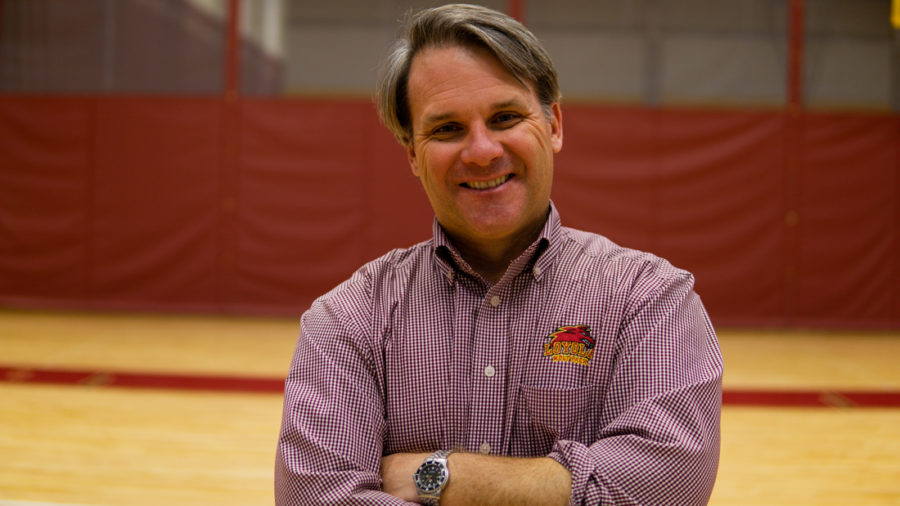 Brett+Simpson%2C+director+of+athletics%2C+has+been+a+part+of+the+front+office+for+the+past+20+years.+He+has+managed+to+add+four+new+sports+teams+and+over+200+student-athletes+to+the+program.+Photo+credit%3A+Jacob+Meyer