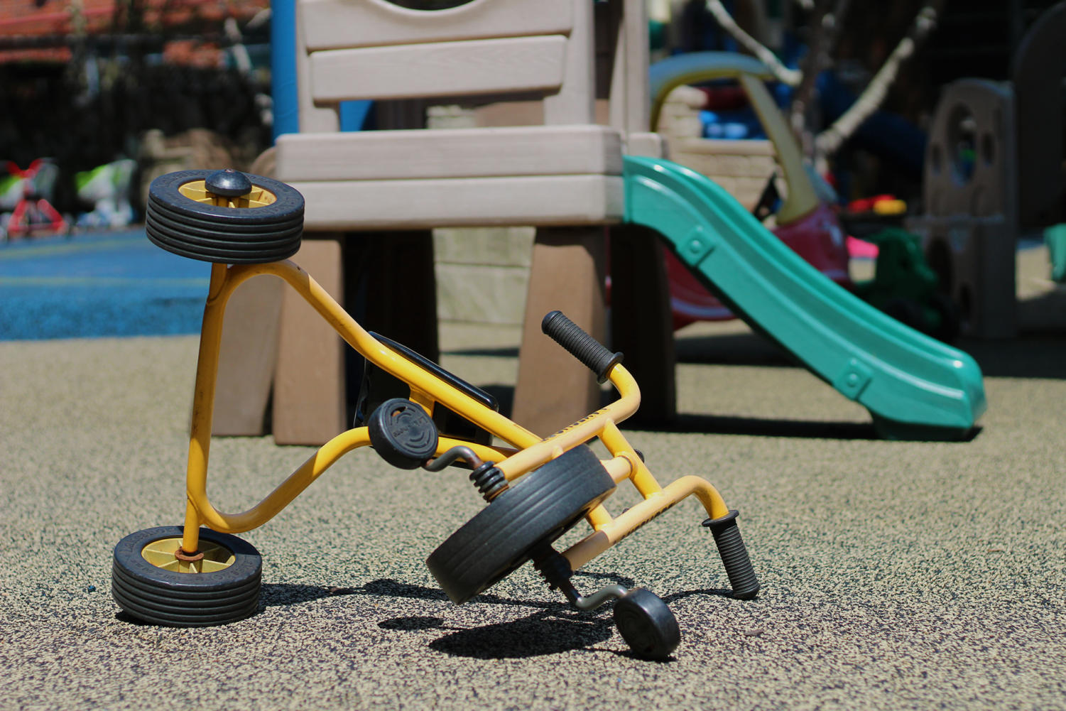A playground outside Mercy Hall sits empty May2, 2018. The rising cost of tuition at the daycare center has led multiple faculty, staff and community members to remove their children from the center's care. Photo credit: Cristian Orellana