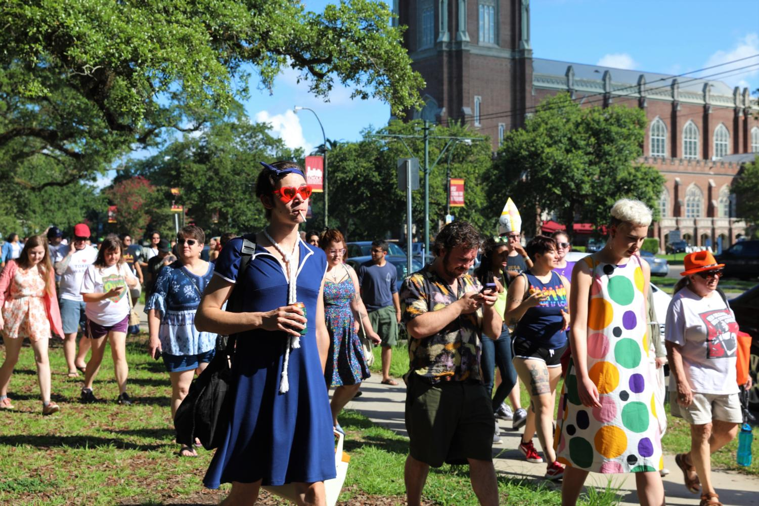 A+group+of+counter+protesters+flocking+to+the+Westboro+Baptist+Church+members.+Photo+credit%3A+Catie+Sanders
