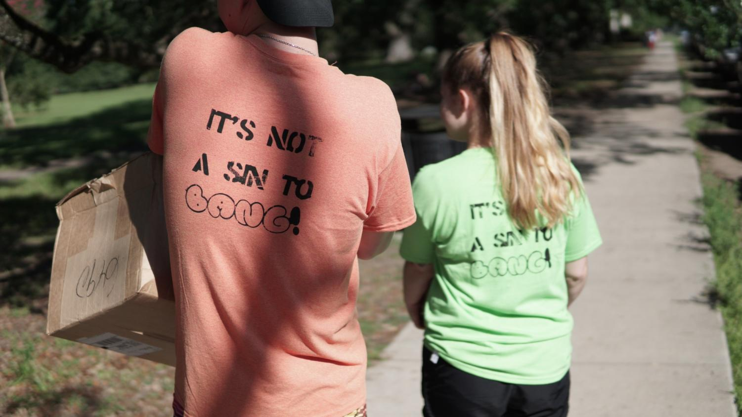A+group+of+Loyola+students+created+shirts+to+counter+the+Westboro+Baptist+Church+protesters.+Photo+credit%3A+Jacob+Meyer
