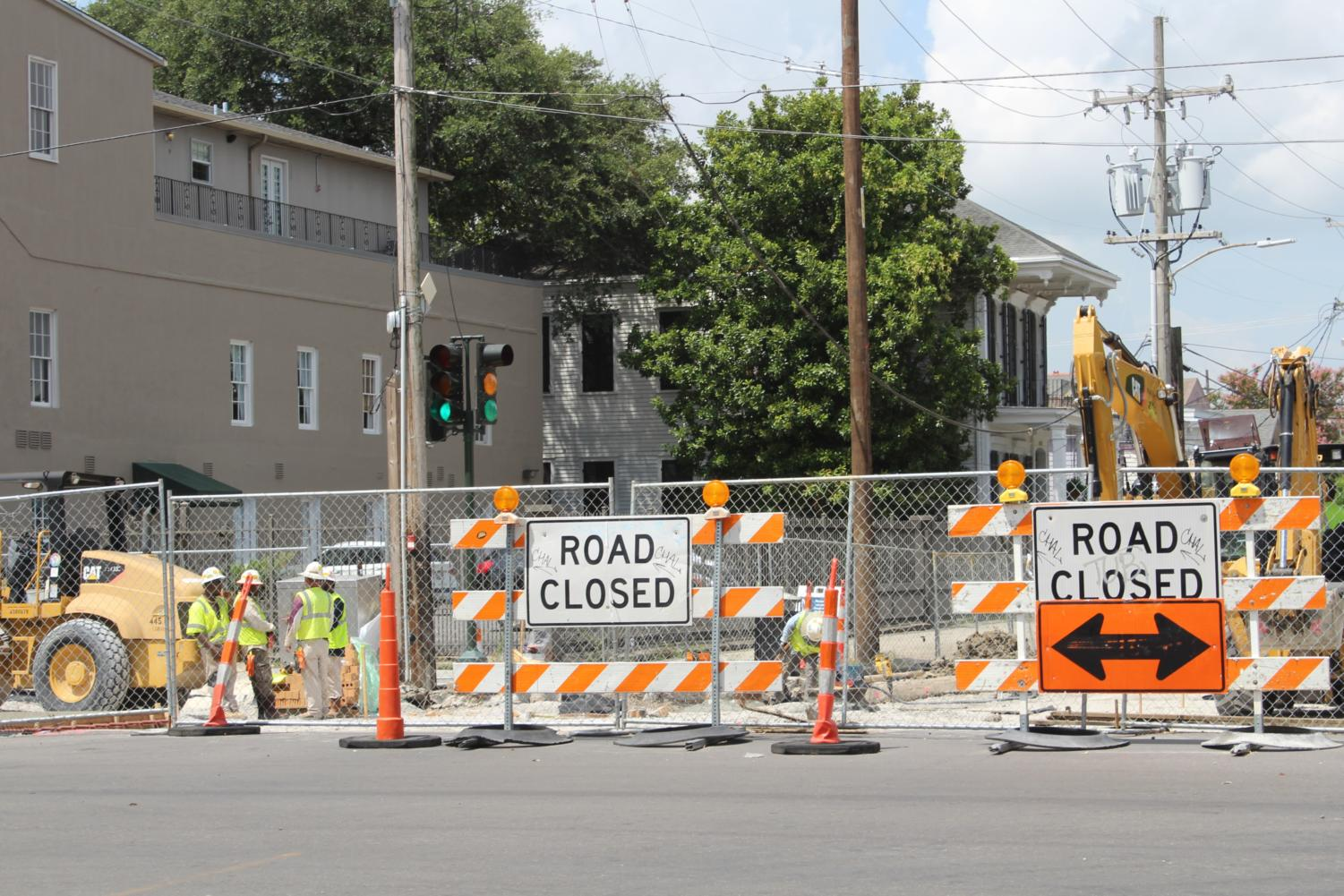 The closed portion of Louisiana Ave. blocking traffic from Magazine Street. Construction is expected to be finished in 30 days, according to the Army Corps of Engineers. Photo credit: Alexandria Whitten
