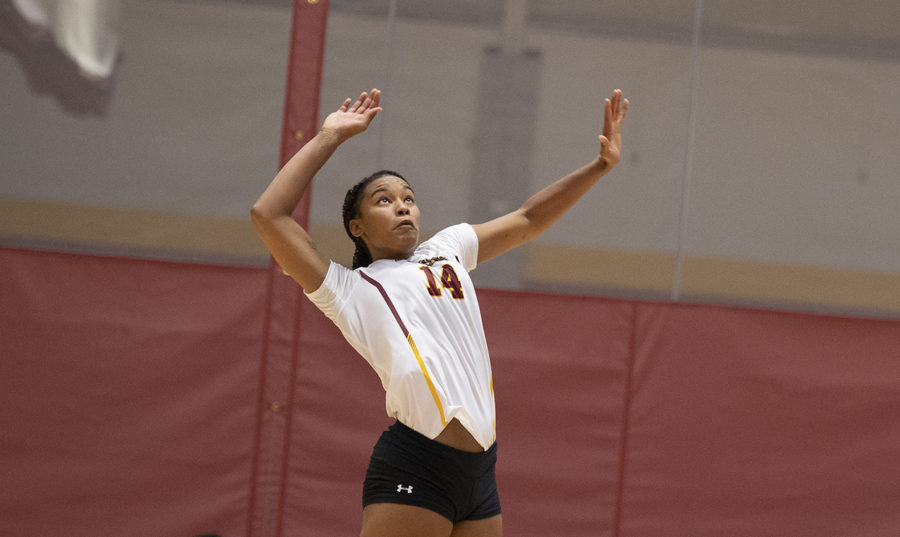 Mass+communication+senior+Tylar+Beckham+eyes+the+ball.+Beckham+finished+with+11+kills+and+five+blocks+against+University+of+Mobile.+Photo+credit%3A+Loyola+New+Orleans+Athletics
