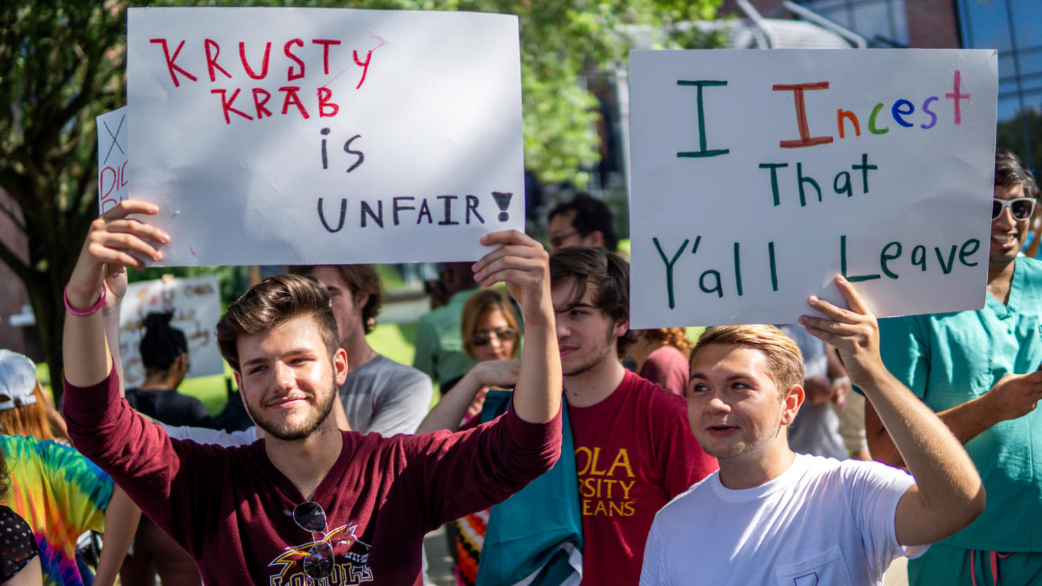 Loyola students and other supporters of the University went out of their way to parody protesting in and of itself, often using puns, pop-culture references, or simple jokes. Photo credit: Jacob Meyer