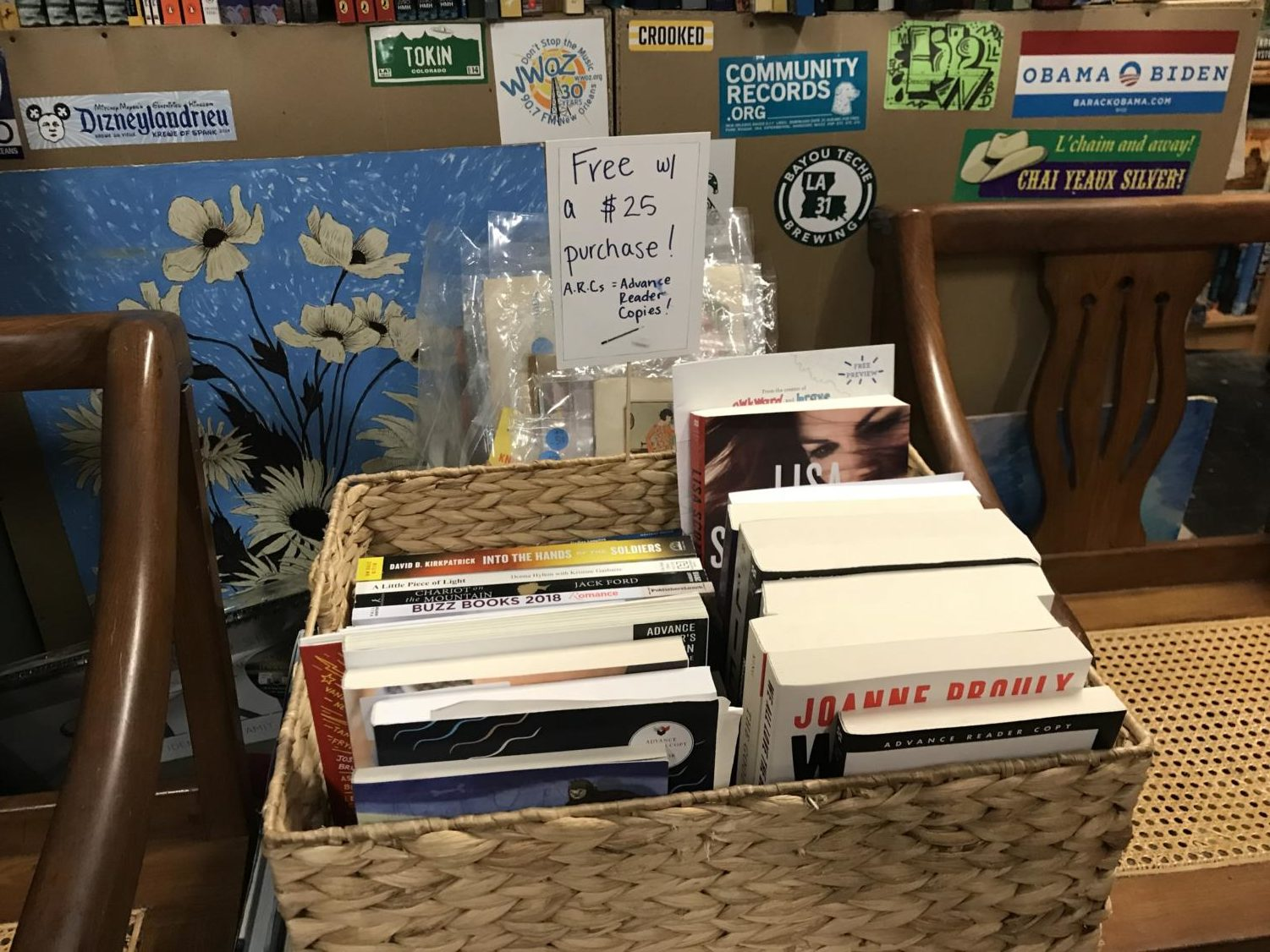 A+bin+in+the+back+room+offers+free+advanced+reader+copies+to+customers+who+spend+%2425+or+more+on+books+and+literary+treasures.+Photo+credit%3A+Rose+Wagner