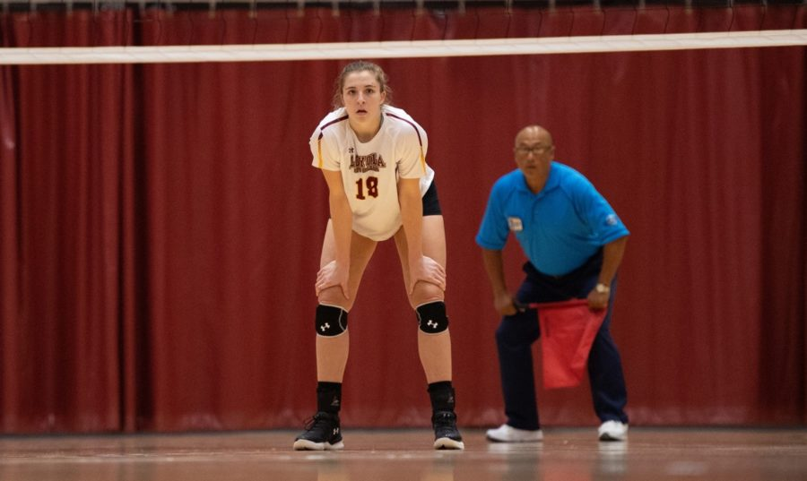 Psychology+senior+Malea+Howie+stands+out+the+ready.+Howie+finished+with+22+kills+in+the+two+games+against+Florida+College+and+Florida+National+University.+Photo+credit%3A+Loyola+New+Orleans+Athletics
