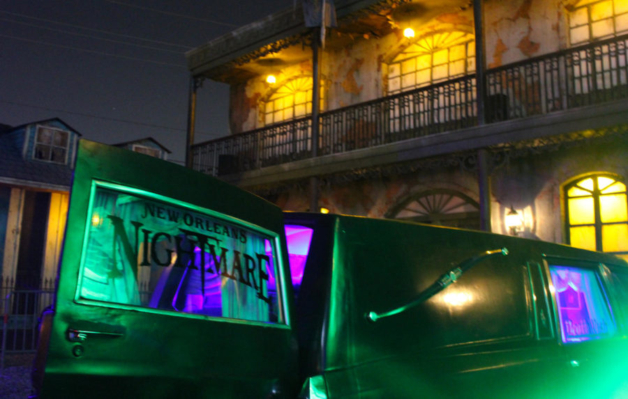 A+hearse+advertising+NOLA+Nightmare+sits+outside+the+haunted+house.+Detailed+theming+gives+a+haunted+vibes+throughout+the+grounds.+Photo+credit%3A+Caitlyn+Reisgen