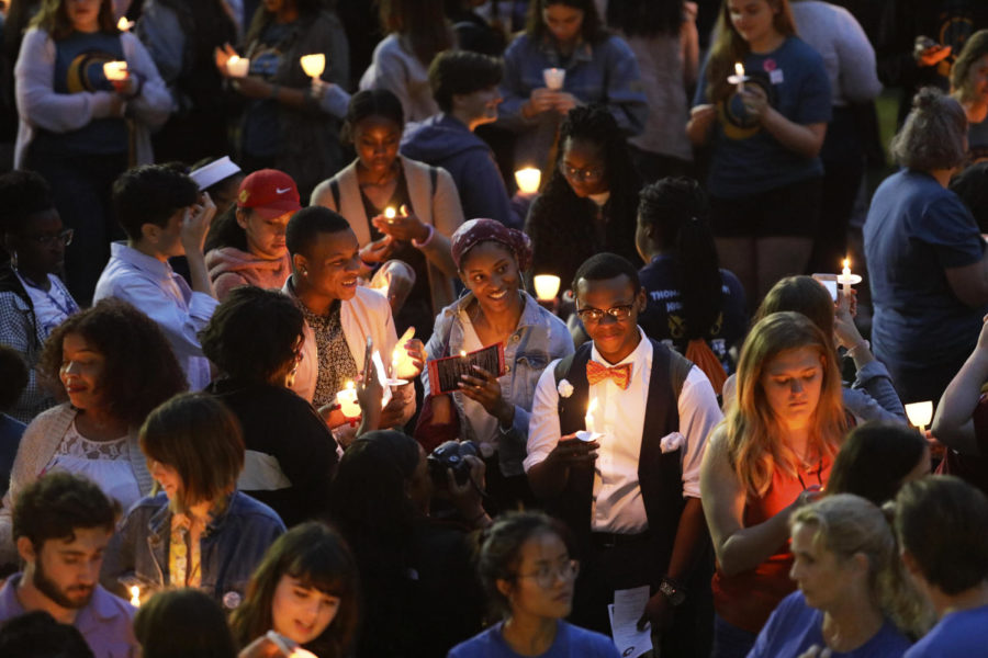 Students+gather+in+front+of+Marquette+Hall+for+Take+Back+the+Night+on+October+24.+Students+and+community+members+gather+to+advocate+for+sexual+assault+victims.+Photo+credit%3A+Cristian+Orellana