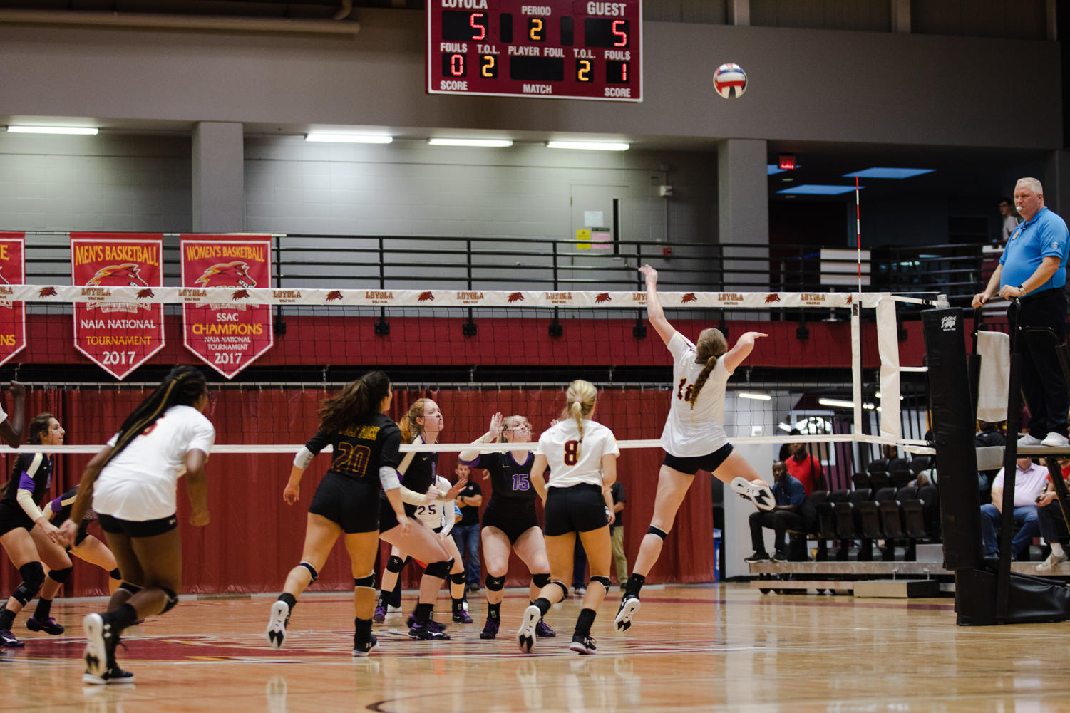 Psychology senior Malea Howie goes for a kill in the home opener against Bethel University. Howie finished with a career high of 17 kills against Mississippi College. Photo credit: Julia Santos