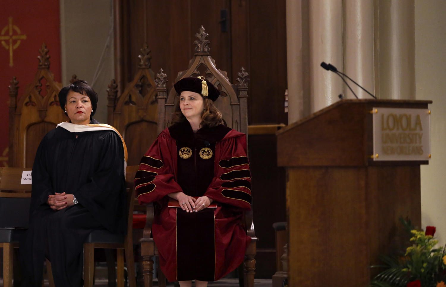 New Orleans Mayor Latoya Cantrell sits aside President Tetlow at the Inauguration Ceremony. Photo credit: Angelo Imbraguglio