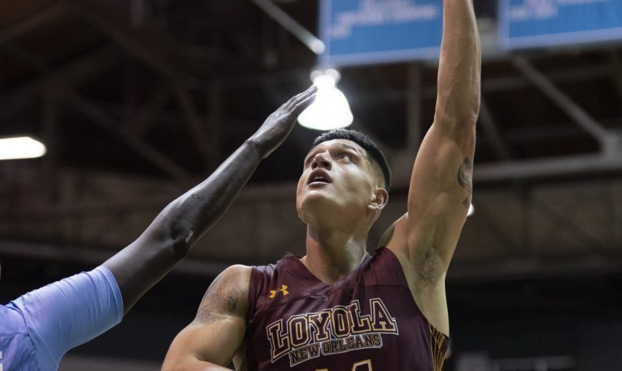 Business+senior+Sammis+Reyes+puts+up+a+shot.+Reyes+led+the+team+with+8+rebounds+and+6+assists+against+Xavier+University.+Photo+credit%3A+Loyola+New+Orleans+Athletics