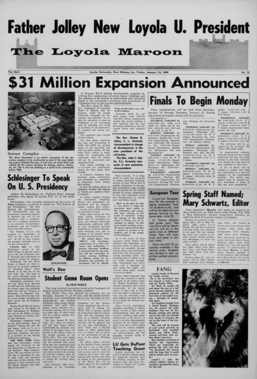 The Jan. 16, 1966 front cover of The Maroon.