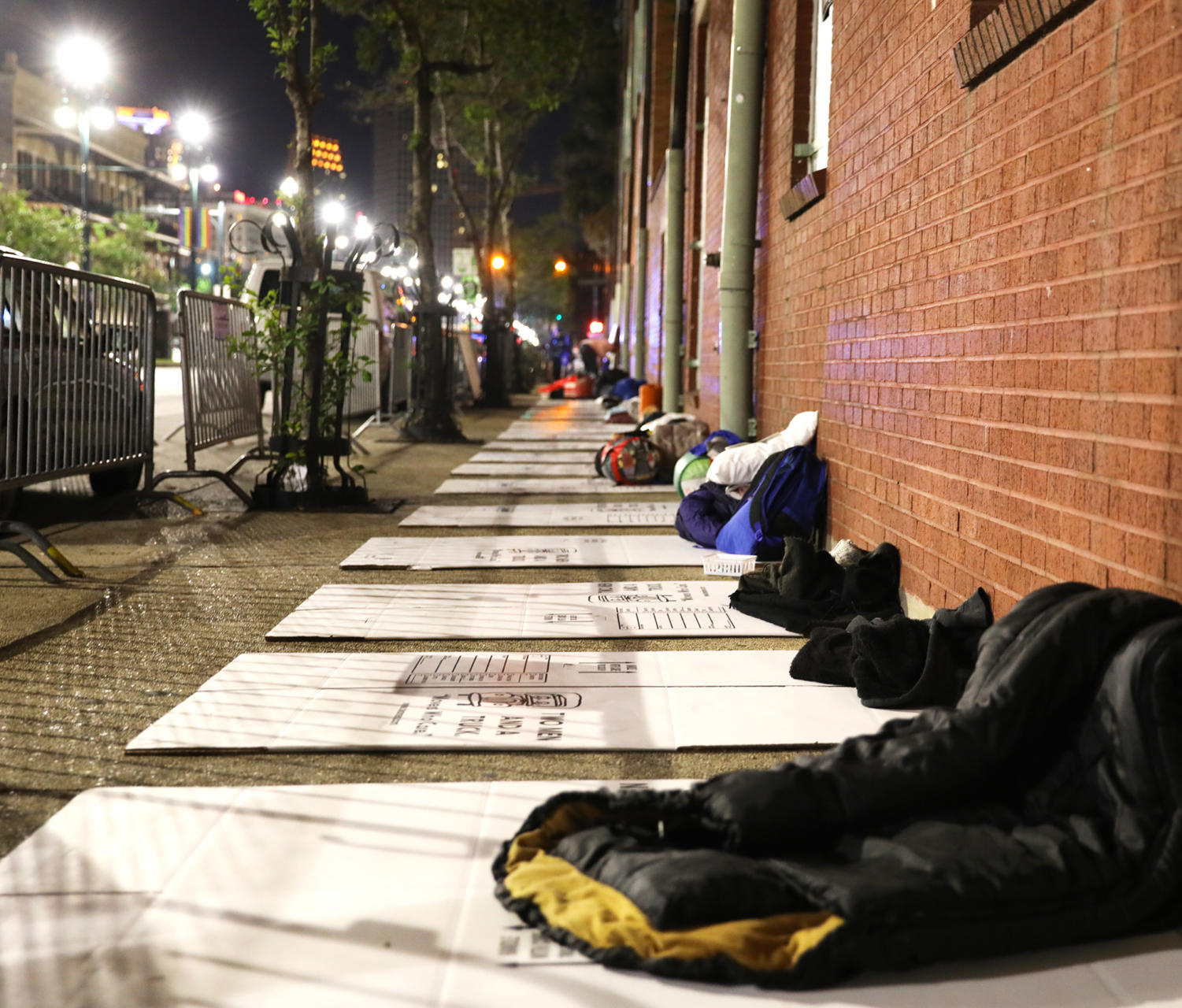 Sleeping bags lined the sidewalk of N. Rampart St. outside of Covenant House. Participants slept outside to show support for homeless youth. Photo credit: Andres Fuentes