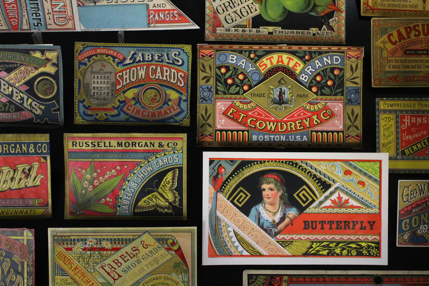 An assortment of brightly colored trading cards are displayed in the Booth-Bricker Reading Room. Kitchens' collection will be on display until the end of the fall semester. Photo credit: Gracie Wise