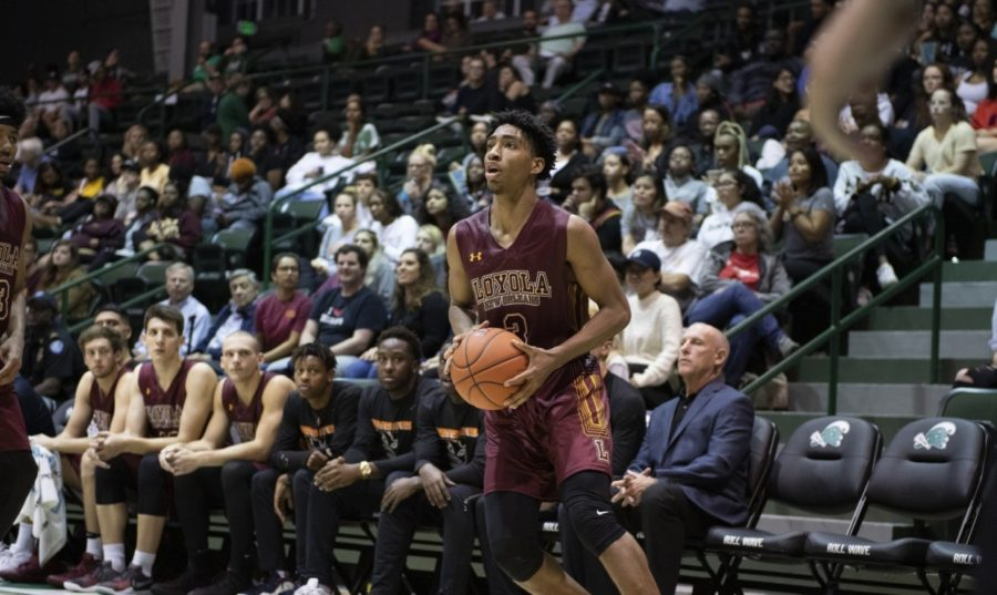 Mass+communication+Myles+Burns+led+the+team+in+scoring+with+19+points+while+also+grabbing+seven+rebounds%2C+three+steals+and+two+assists.+Photo+credit%3A+Loyola+New+Orleans+Athletics