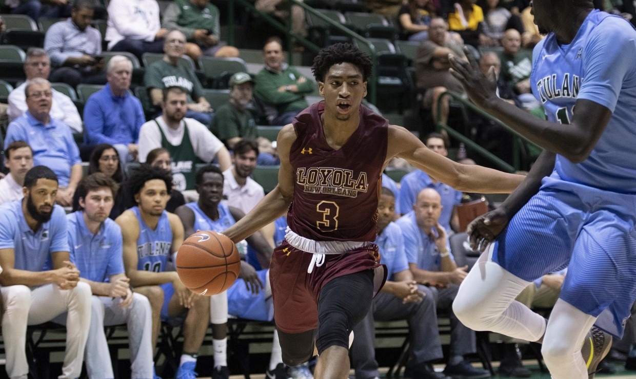 Mass communication freshman Myles Burns was the standout player for the Wolf Pack. Burns led the team in points, with 28, and rebounds, with 15, which also was a career-high. Photo credit: Loyola New Orleans Athletics