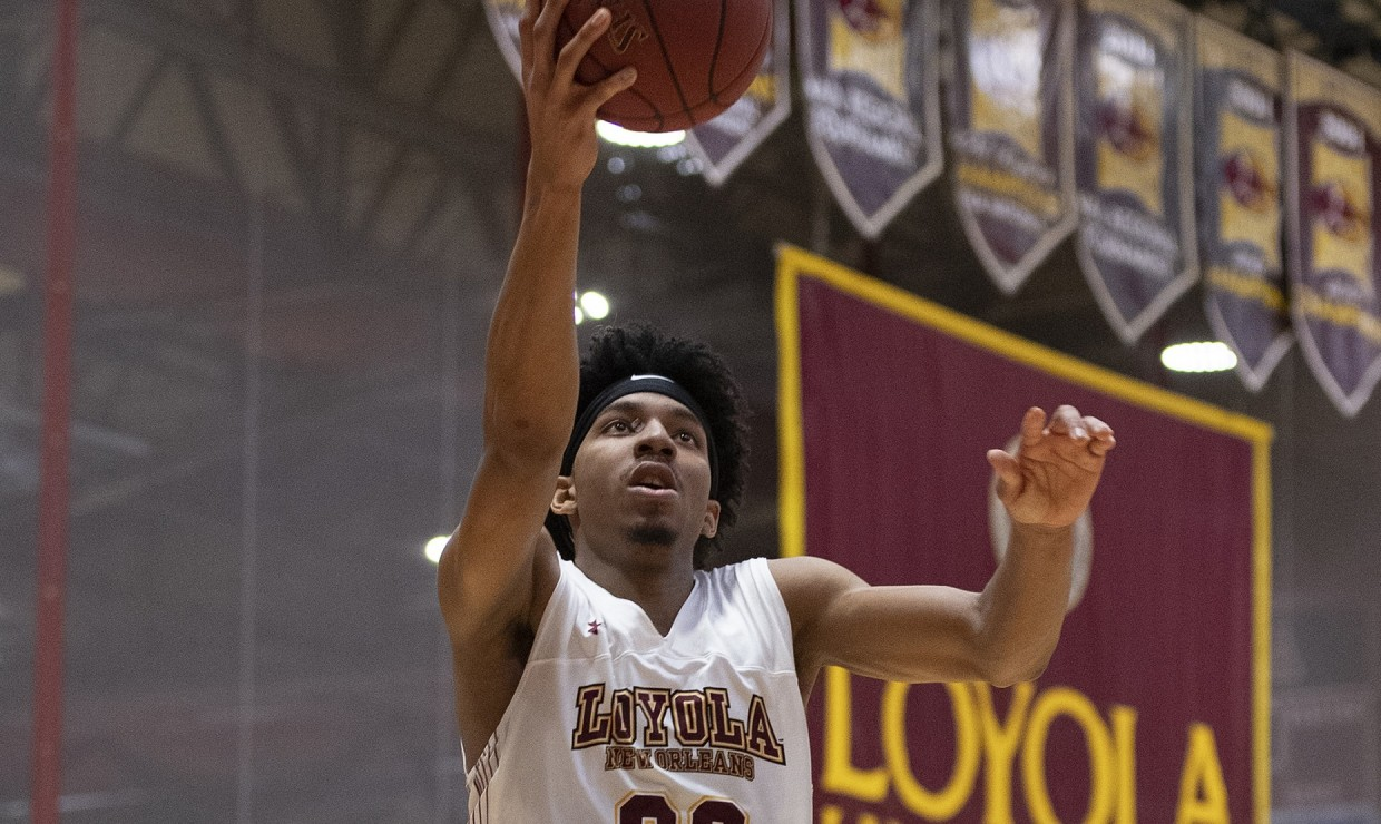 Mass communication freshman Zach Wrightsil lead in points, rebounds and assists. He recorded 22 points, 10 rebounds and three assists to earn his sixth double-double of the year. Photo credit: Loyola University Athletics
