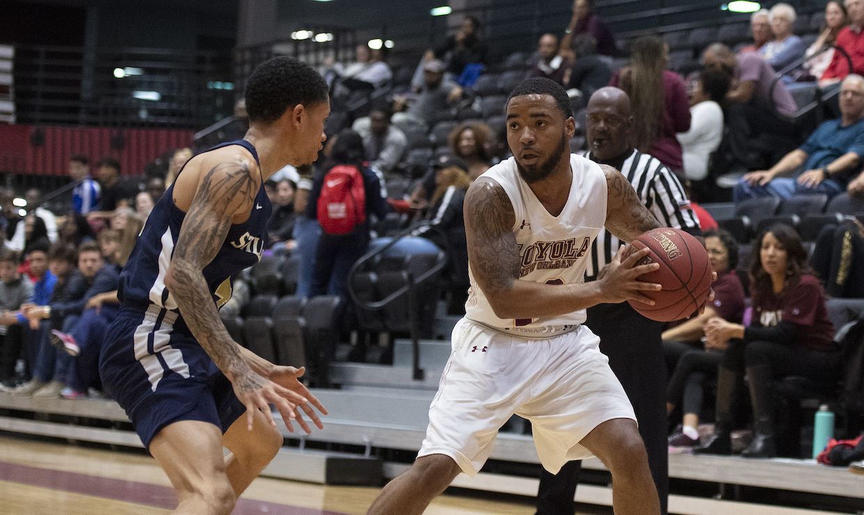Mass communication senior Eric Brown had 16 points versus Martin Methodist on Jan. 19. The men's basketball team sported a late game offensive run to win the game. Photo credit: Loyola New Orleans Athletics
