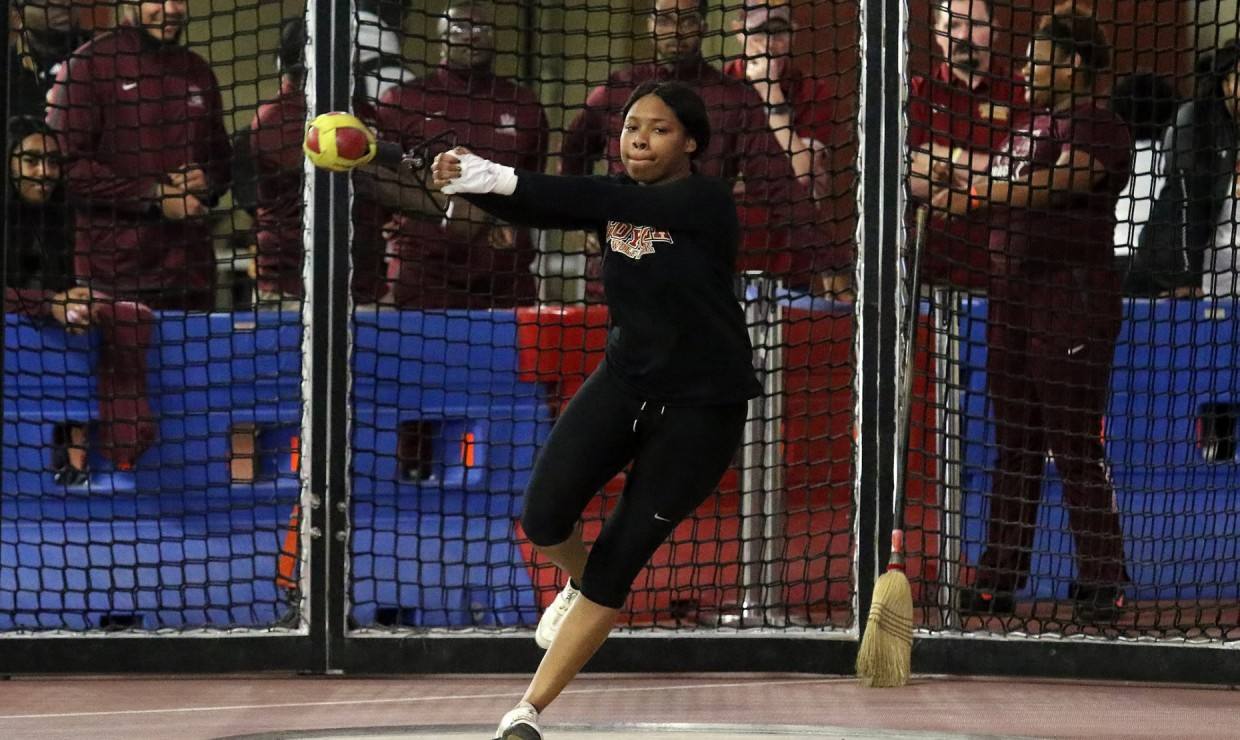 Senior Taylor Hagins kicked off Loyola's hot start by setting a program-best record in the weight throw with a toss of 13.24 meters. She missed tying the school record in the shot put by .01, with a throw of 10.87 meters. Photo credit: Loyola New Orleans Athletics