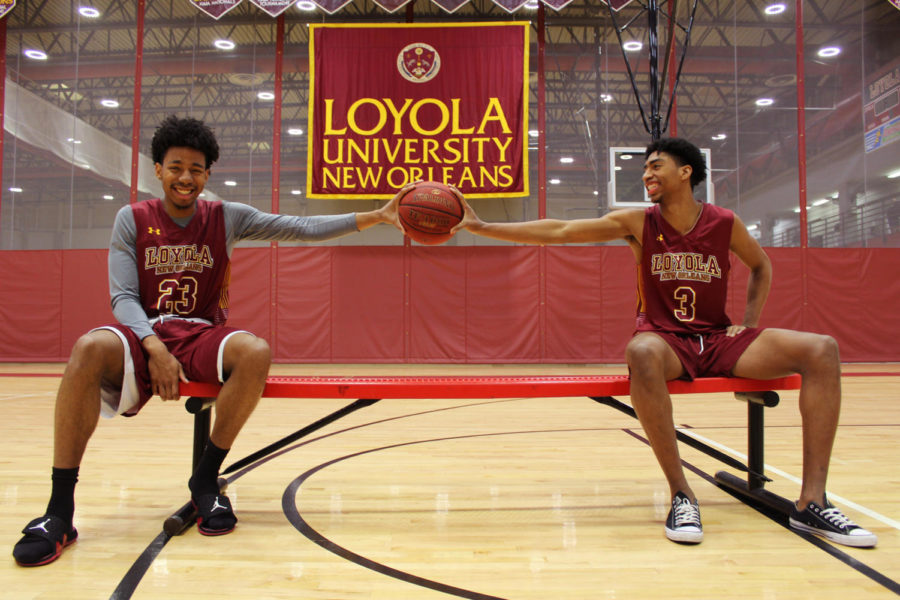 Zach+Wrightsil+and+Myles+Burns%2C+mass+communication+freshmen%2C+start+on+the+Loyola+men%E2%80%99s+basketball+team.+Their+first+year+on+the+team+has+been+met+with+notable+performances+and+high+statistical+averages.+Photo+credit%3A+Anum+Siddiqui