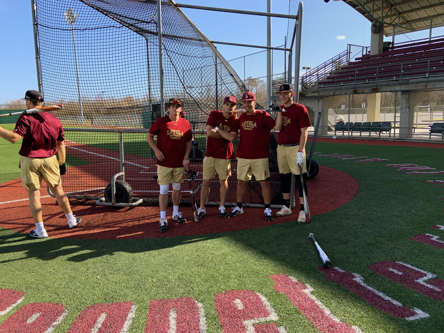 The 2019 baseball team practices at Segnette Field at the Alario Center. Photo credit: Andrew Wellmann