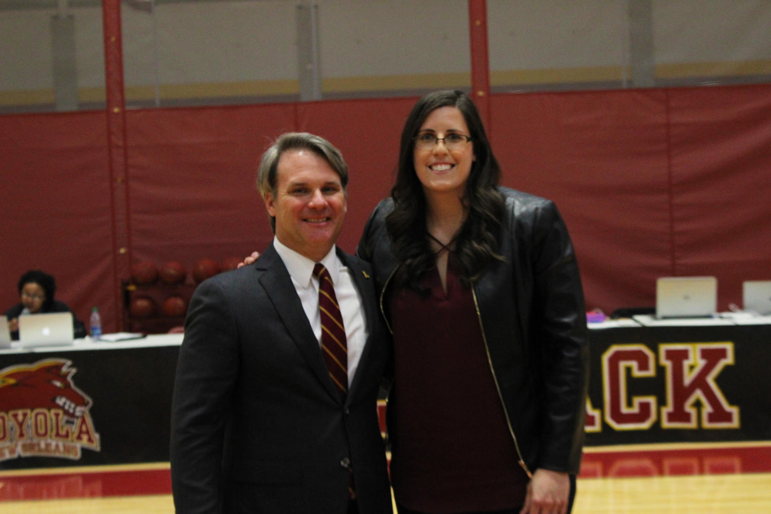 Athletic+Director+Brett+Simpson%28Left%29+and+new+Hall+of+Fame+Inductee+Gina+Gill+A%2711%28Right%29+celebrate+induction+honors.+Photo+credit%3A+Rosha%27E+Gibson