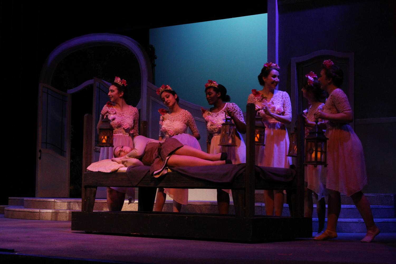 Actresses+gather+around+a+sleeping+Cendrillion.+Photo+credit%3A+Hannah+Renton