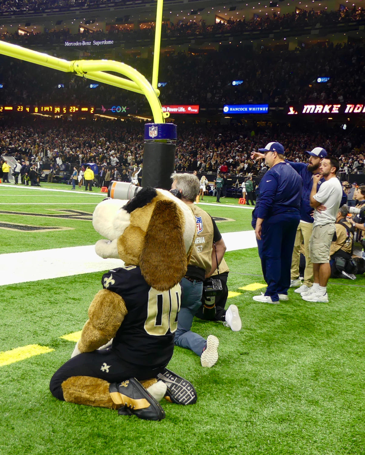 Gumbo%2C+the+Saints+mascot%2C+sits+on+the+sidelines+of+the+NFC+Championship.+Photo+credit%3A+Olivia+Ledet