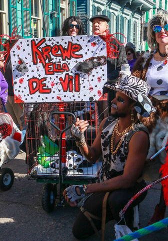 The+Krewe+Ella+De+Vil+went+all+out+with+their+costumes+and+their+dogs.+This+man+poses+and+waits+for+a+group+picture+to+be+taken.