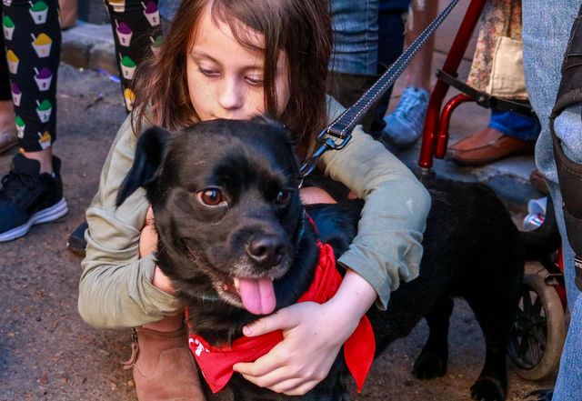 A+girl+holds+onto+her+dog+amidst+the+chaos+of+Barkus.