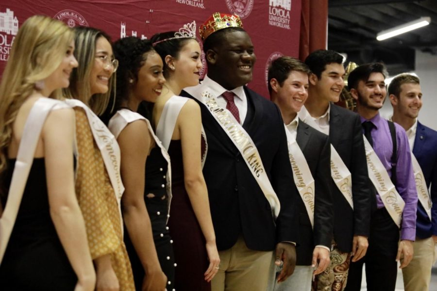 Loyola%27s+2019+Homecoming+court+poses+for+a+picture+after+king+and+queen+were+announced.+Photo+credit%3A+Michael+Bauer