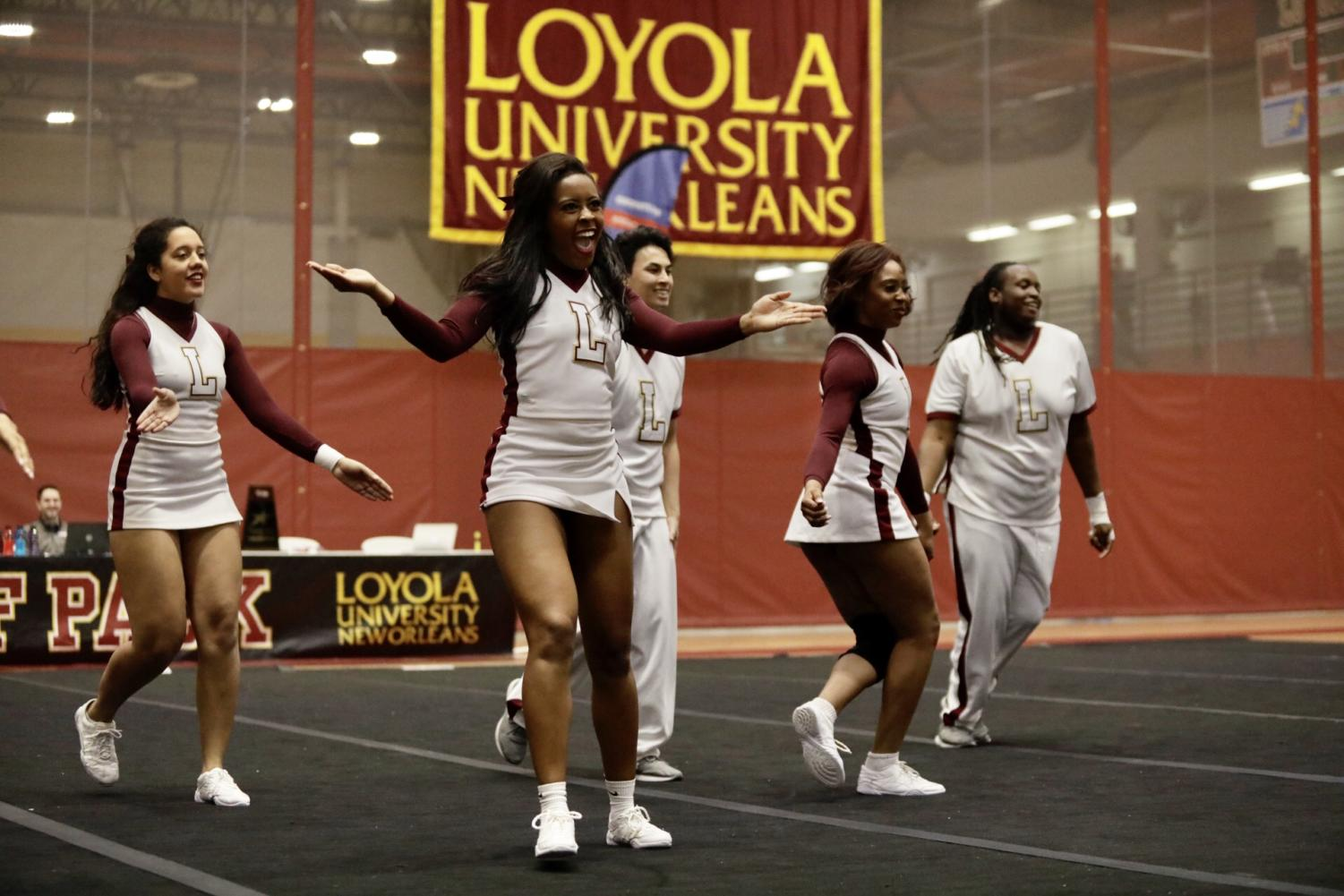 Loyola%27s+cheer+team+hypes+up+the+home+crowd+during+their+routine+in+the+conference+championship.