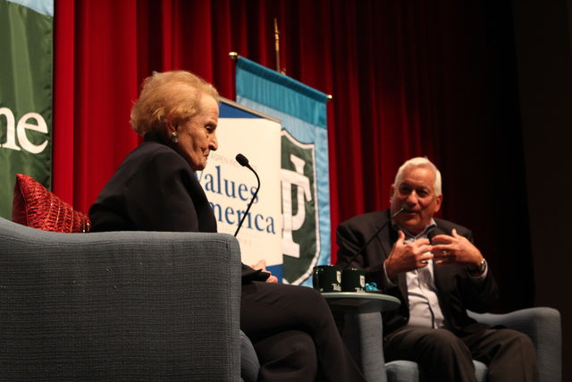Former+U.S.+Secretary+of+State+Madeleine+Albright+%28left%29+discusses+politics+and+her+newest+book%2C+%22Fascism%3A+A+Warning%2C%22+Tuesday+at+Tulane+University.+Tulane+history+professor+Walter+Isaacson+%28right%29+served+as+moderator+of+Albright%27s+talk%2C+part+of+the+Tulane%2FAspen+Institute%27s+Values+in+America+Speaker+Series.