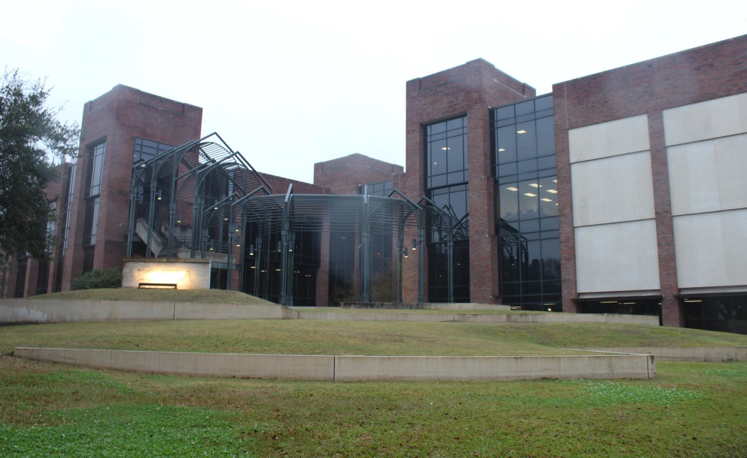 Th Communcation/Music Complex sits in the rain on February 20, 2019. The building holds the newly named College of Music and Media. Photo credit: Cristian Orellana