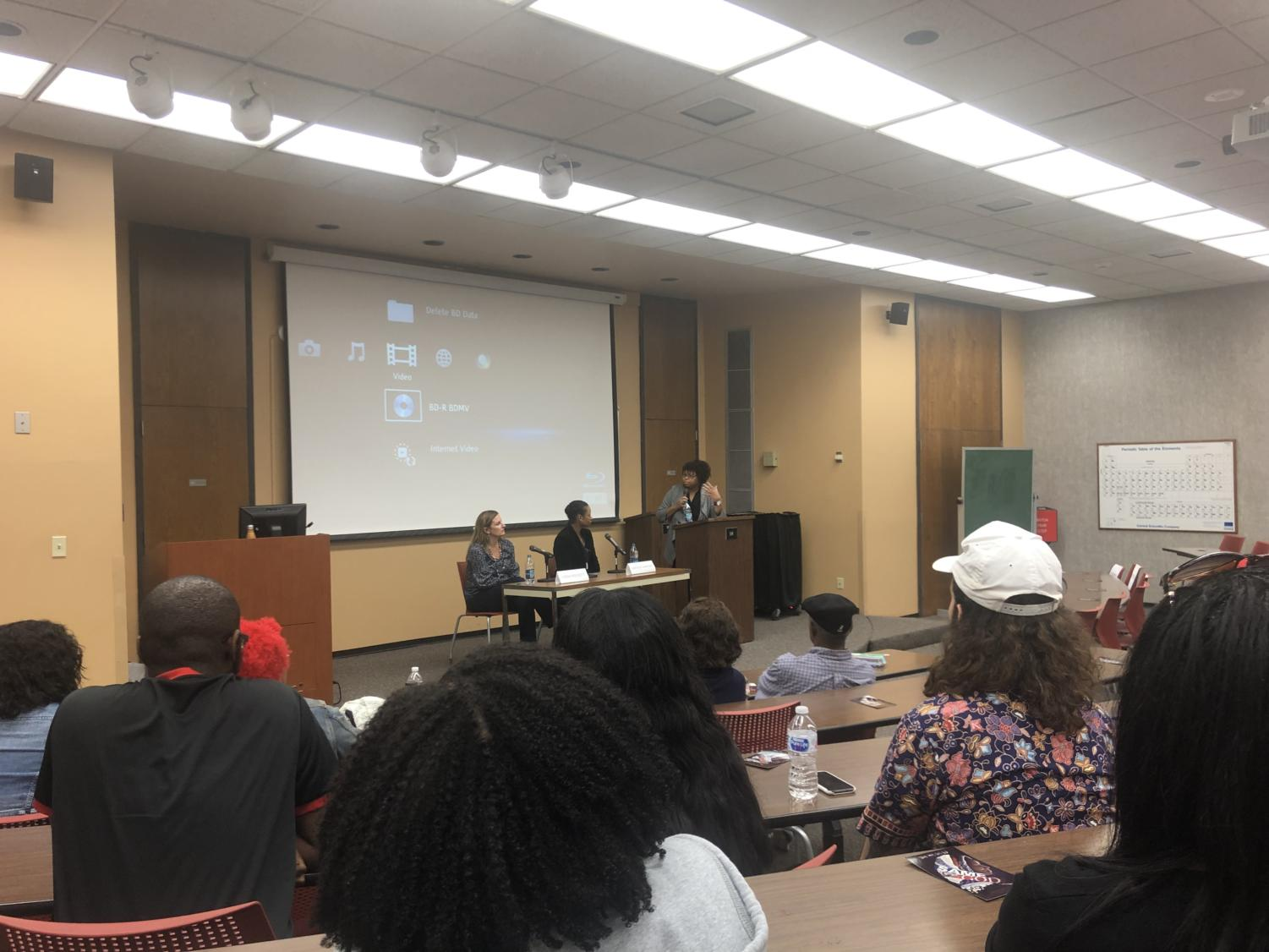 After the screening of the documentary, 'Same God', director Linda Midgett and subject Larycia Hawkins provide a Q&A for Loyola students. The film screening and Q&A was moderatred by African-American studies director Trimiko Melancon. Photo credit: Shamaria Bell