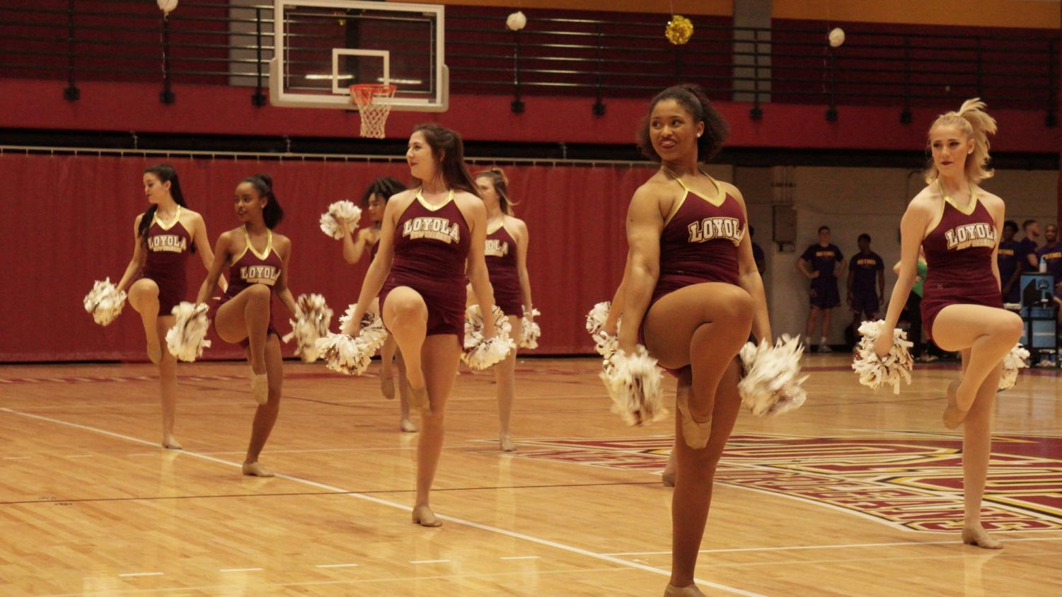 Loyola's competitive dance team performs during a timeout at a home game on Feb. 14, 2019. The dance team placed 12th at the national meet. Photo credit: Jacob Meyer