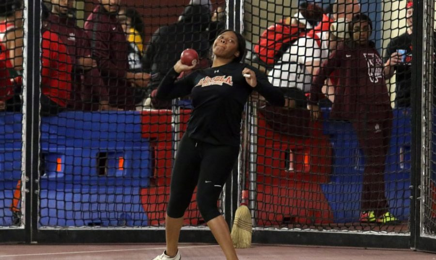 Senior+Taylor+Hagins+threw+42.48+meters+in+the+hammer+throw+and+finished+in+seventh+place+overall+in+the+meet.+Two+other+program+records+were+set.+Photo+credit%3A+Loyola+New+Orleans+Athletics