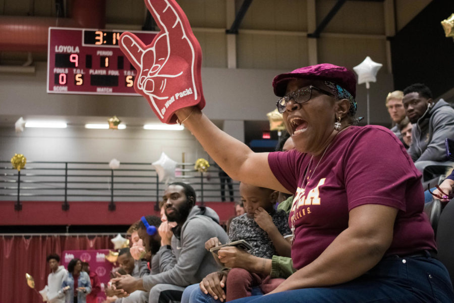 A+Loyola+fan+cheers+on+the+women%27s+basketball+team+versus+Bethel+University+on+Feb.+14%2C+2019.+Both+teams+will+be+competing+in+the+national+tournament+this+year.+Photo+credit%3A+Michael+Bauer