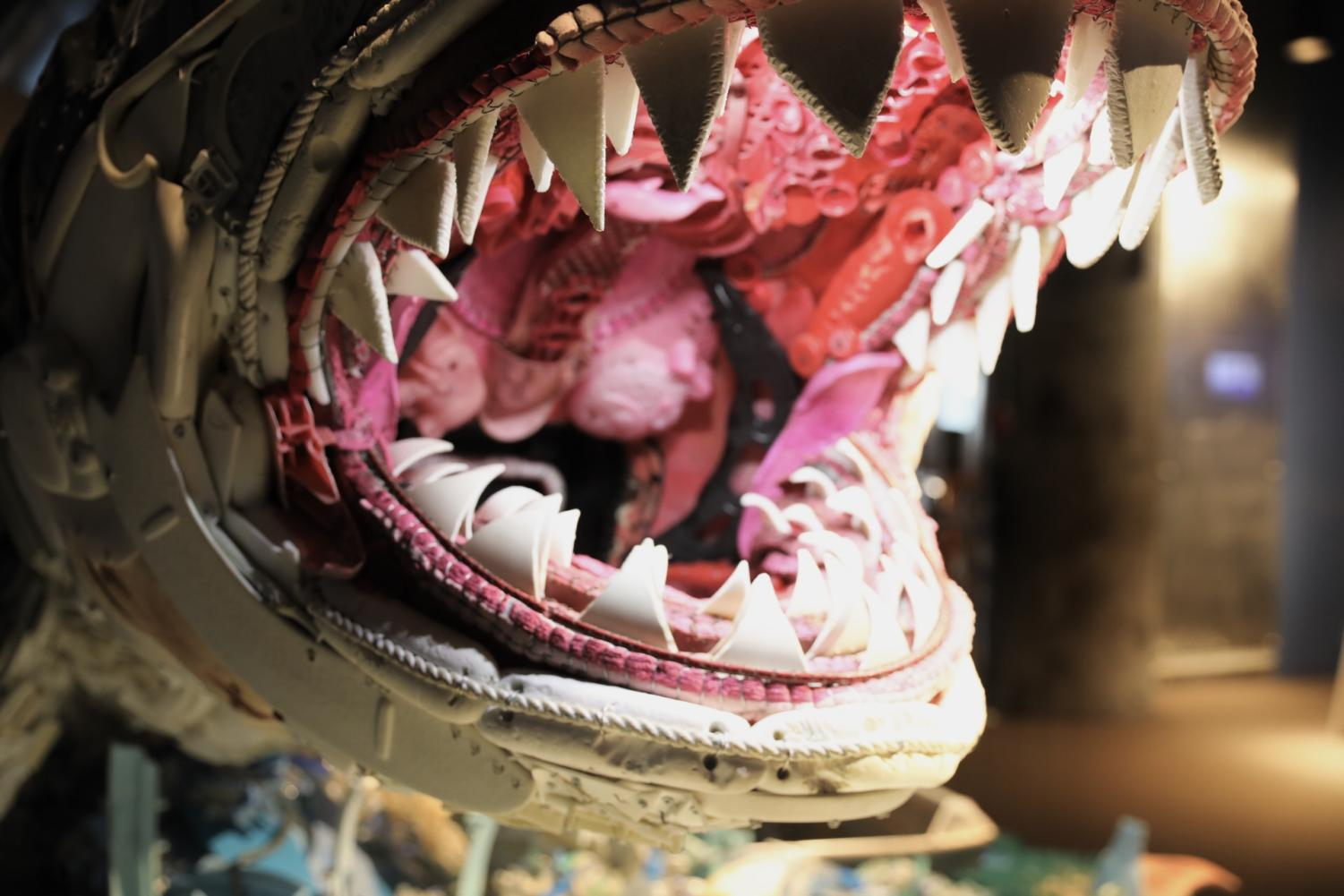 A toilet seat and other litter make up the sculpture of a Great White Shark. Featured sculptures were made up of litter. Photo credit: Andres Fuentes