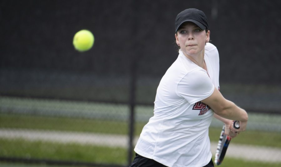 Freshman+Chandler+Harmon+that+helped+earn+a+narrow+5-4+victory+over+LSU-Alexandria.+The+team+now+has+a+9-6+record.+Photo+credit%3A+Andres+Fuentes