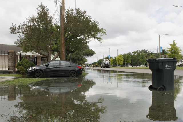 A+car+surrounded+by+idle+water+in+Uptown+New+Orleans+on+May+3%2C+2019.+This+is+one+of+many+cars+and+homes+affected+by+a+water+main+break+early+Friday+morning.