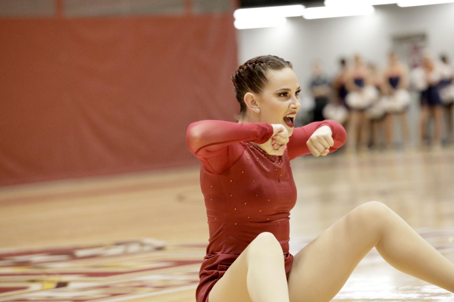 Music industry studies senior Beth Cohen performs at the SSAC Competitive Dance Championship in The Den on Feb. 1, 2019. Loyola earned a record amount of point in the Learfield Cup standings.