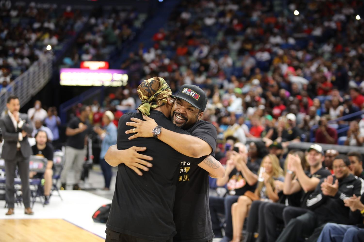 BIG3+founder+Ice+Cube+embraces+New+Orleans+rapper+Juvenile+at+the+BIG3+playoffs+on+August+25%2C+2019.+Celebrities+sat+court+side+to+witness+the+first+BIG3+games+in+New+Orleans.+Photo+credit%3A+Andres+Fuentes