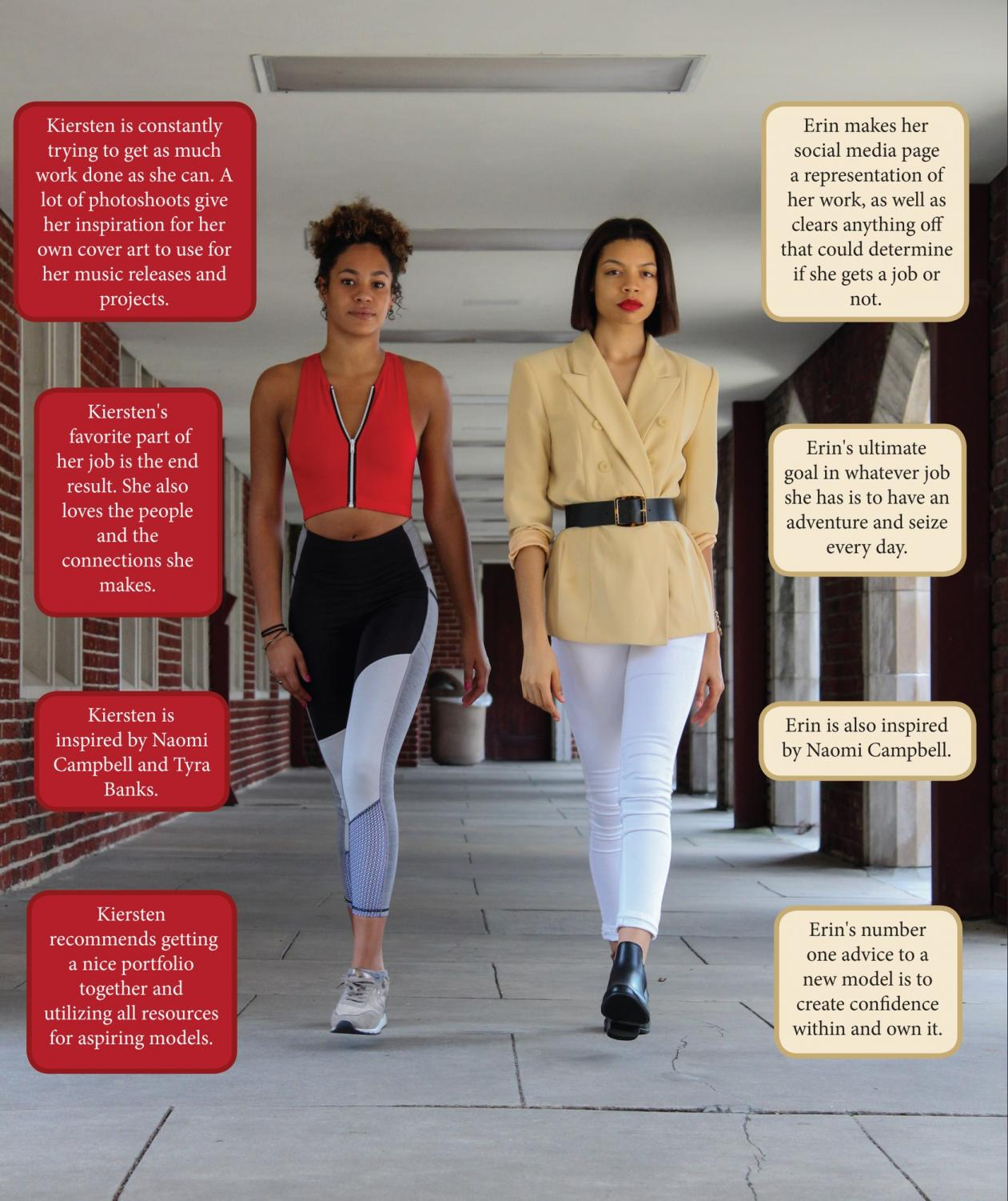 Erin Haynes, mass communication journalism sophomore, and Kiersten Keller, popular and commercial music junior, strut. The two are walking in New Orleans Fashion Week Sept. 26 to Sept. 28. Photo credit: Cristian Orellana