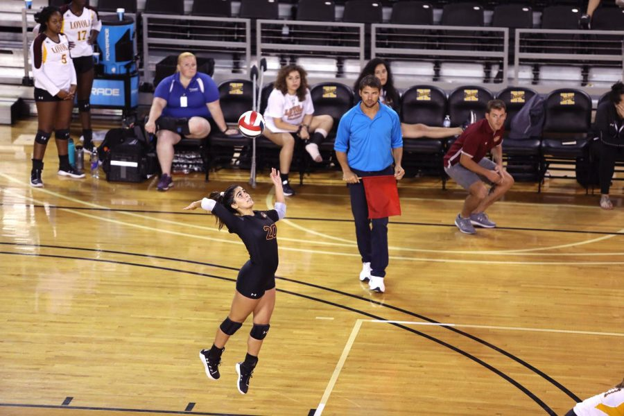 Psychological+sciences%2C+pre-health+junior+Helene+Masonne+serves+against+Xavier+University+of+Louisiana.+Masonne+finished+with+13+digs+against+Xavier.+Photo+credit%3A+Andrew+Lang