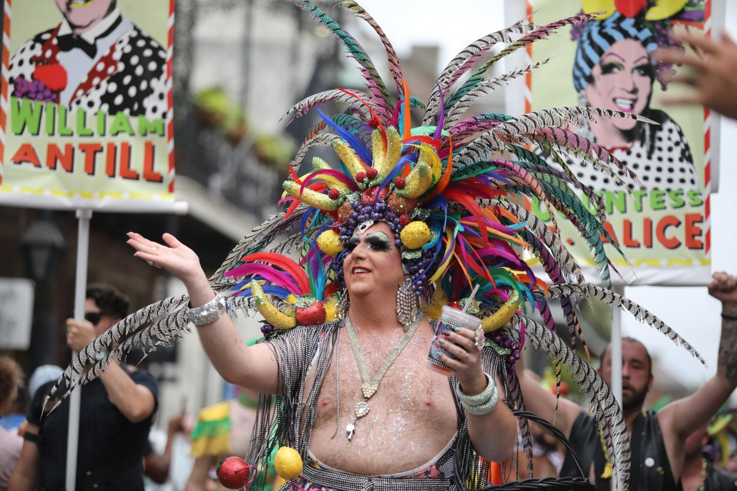 Countess C. Alice leads the 48th annual Southern Decadence parade down Royal Street on September 1, 2019. This year's theme was