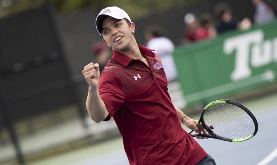 Business+sophomore+Joseph+Short+celebrates+a+point+during+the+Southern+States+Athletic+Conference+championships+last+season.+Photo+credit%3A+Loyola+New+Orleans+Athletics